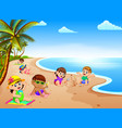 summer vacation in the beach with the children vector image vector image
