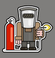 welder with gas cylinder and reducer vector image vector image