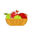 wicker basket with fruits vector image vector image