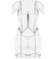 wireframe polygonal girl in a corset back view vector image