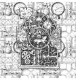 steampunk mechanism sketch vector image