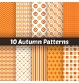 10 autumn seamless patterns endless texture vector image