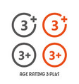 age rating 3 plus movie icon under 3 years sign vector image vector image
