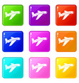 airplane icons 9 set vector image vector image
