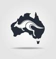 australia map icon with the kangaroo vector image vector image