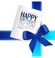 Birthday card with blue ribbon and birthday text vector image vector image