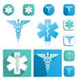 caduceus and esculapius staff icons set