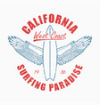 california slogan t-shirt with surfboard and vector image vector image