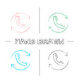 calling linear hand drawn icons set vector image