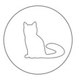 cat icon black color in circle or round vector image vector image