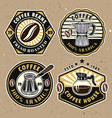 coffee set four colored badges emblems vector image vector image
