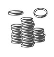 coins black and white objects vector image
