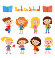 color set pretty girls stand with books vector image vector image