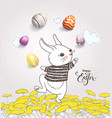 cute hand drawn bunny dressed in striped t-shirt vector image