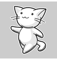 Cute kawaii white cat Sticker for fun vector image