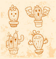 doodle cactus cartoon vector image