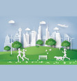 eco conceptgreen city in the leaf vector image