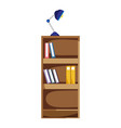 education bookcase with books and desk lamp vector image vector image