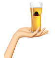 female hand holding on palm a glass with a vector image vector image