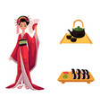 flat geisha sushi and tea ceremony set vector image vector image