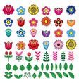 folk flowers and leaves big design set flo vector image