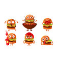 funny burgers set fast food cartoon character vector image vector image