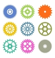 Gear Icons Set in Flat Design colors vector image vector image