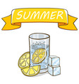 glass water with lemon slice ice cubes vector image vector image