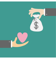 Hands with heart and money bag Exchanging concept vector image vector image