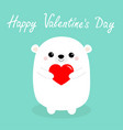 happy valentines day white baby bear holding red vector image vector image
