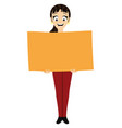 happy woman with a poster in her hands vector image