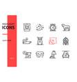 healthy sleeping - line design style icons set