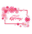 hello springhand lettering with pink flowers vector image