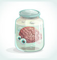 human brain and eyes in the jar vector image