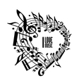 I love music concept black and white design vector image