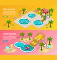 isometric aqua park banner set vector image vector image