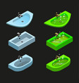isometric clean and clogged sink isolated icons vector image vector image