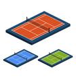 isometric perspective set tennis court vector image vector image