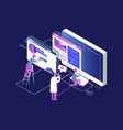 isometric programming and coding technologies vector image vector image