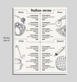 italian food menu different pasta pizza soup vector image