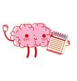 kawaii happy brain with notebook tool vector image vector image