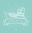 logistic cargo ship container emblem style vector image