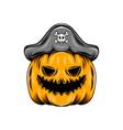monster yellow pumpkin using pirates hat vector image vector image