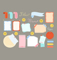 notebook paper sticky planner note set sticker tag vector image vector image