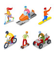 people on snowboard atv and motorcycle vector image vector image