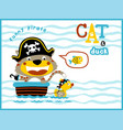 playing pirates with funny animals cartoon vector image