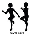power skips sport exersice silhouettes of woman vector image