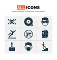 protection icons set with overhead crane slippery vector image