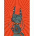 Robot rock Retro music poster with metallic robot vector image