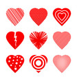 romantic red hearts set vector image vector image